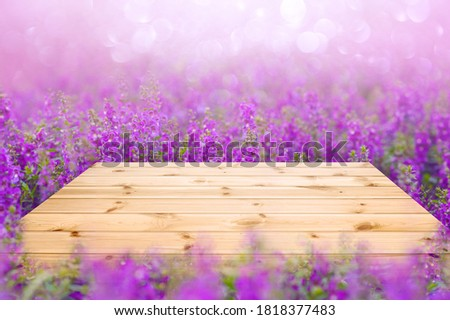 Empty wooden table top with purple or violet flower fields Photo stock ©