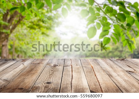 Shutterstock Empty wooden table with garden bokeh for a catering or food background with a country outdoor theme,Template mock up for display of product