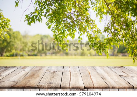 Empty wooden table with garden bokeh for a catering or food background with a country outdoor theme,Template mock up for display of product #579104974