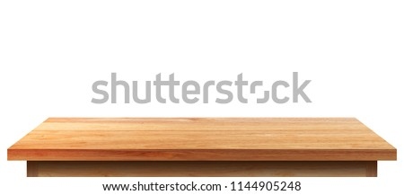 Empty wooden tabletop isolated on white background. For your product placement or montage with focus to the table top in the foreground. Empty pine wooden shelf. shelves #1144905248