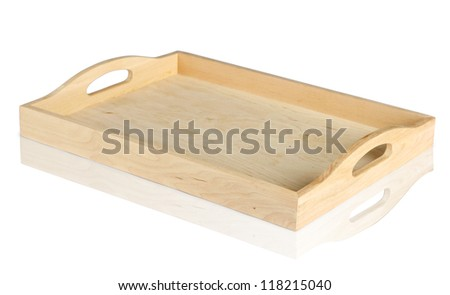 empty wooden tray isolated on white background. Clipping path included.