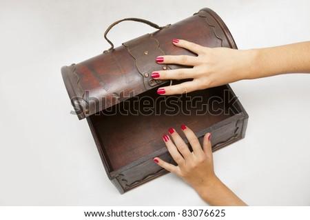 Empty wooden treasure box - stock photo