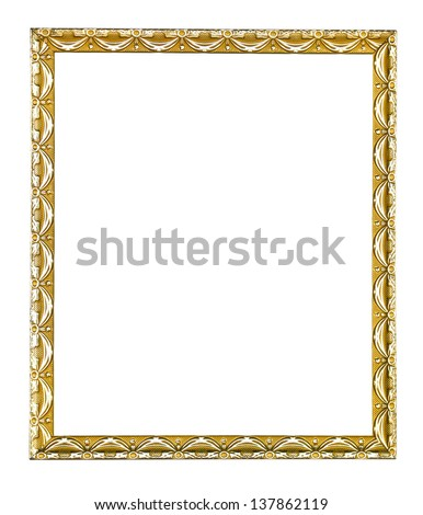 Empty wooden vintage frame isolated on white background