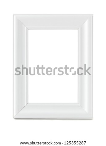 Empty wooden white picture frame isolated with clipping path