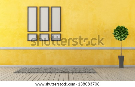 Empty yellow living room with carpet and frame - rendering