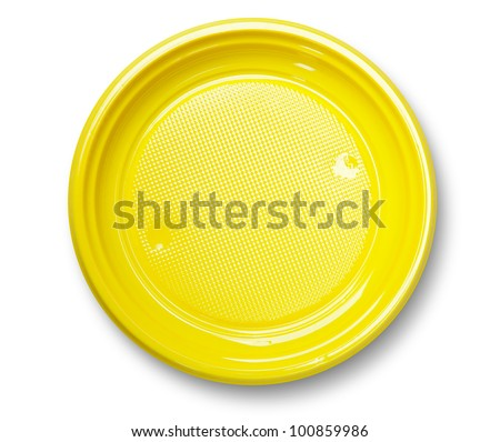 Empty yellow plastic plate with shadow on white ( with clipping path)