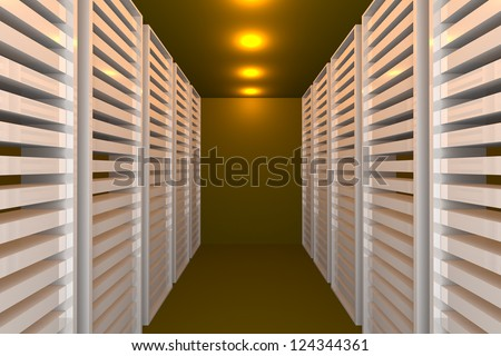 Empty yellow room for modern interior of server room in datacenter