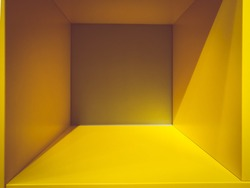 Empty yellow room space, interior for design and decoration - abstract background. square box with blank inner space. Empty room interior perspective view. Photobox inside.