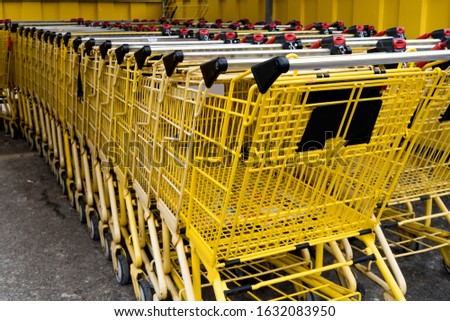 empty yellow shopping carts in a supermarket cart coral