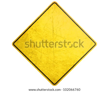 Empty Yellow Sign, attention and alert sign.