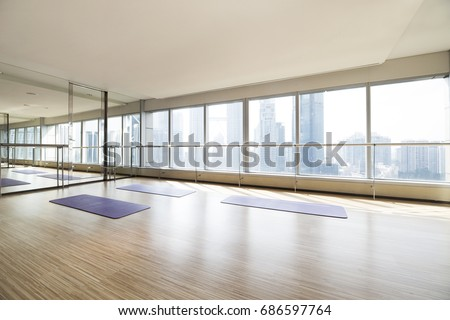 Empty yoga studio and cityscape #686597764