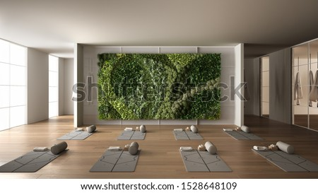 Empty yoga studio interior design, space with mats, hammocks, pillows and accessories, parquet, mirror, vertical garden and big panoramic window, ready for yoga practice, meditation, 3d illustration