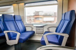 Emtpy interior of the train for long and short distance in Europe
