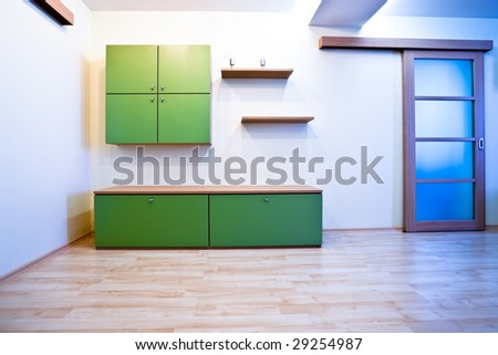 Emty hall with doors and green bookcases