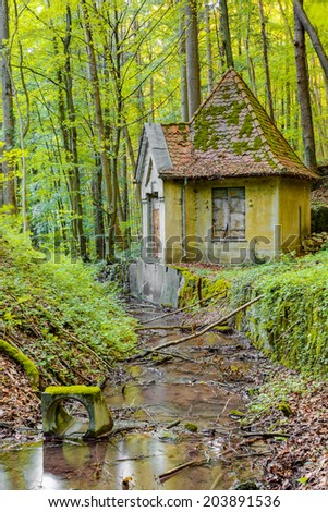 Enchanted Forrest. Little old dilapidated Water House Ruin at a creek in rural Franconia, Germany. Woods at a warm summer sunset in Bavaria