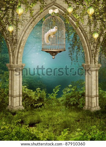 Enchanted garden with a cage and white dove - stock photo