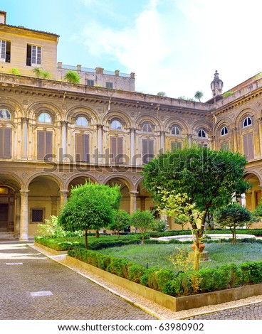 Enclosed court of Uffizi Gallery, Italy. Panorama - stock photo