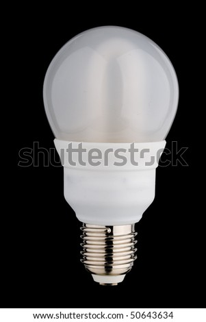 Enclosed fluorescent light bulb separated on black