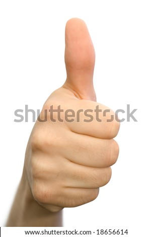 Encouraging hand gesture, isolated on white
