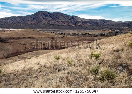 encroachment of urbanization on parks in colorado with prairie grass and mountains in view of tract homes #1255760347