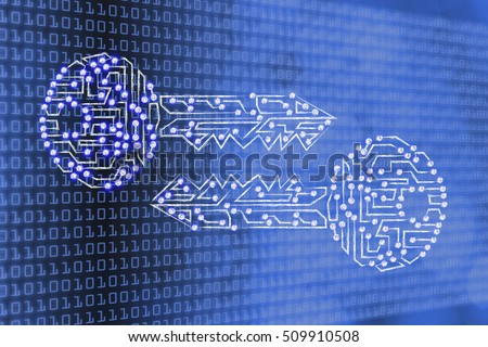 encryption algorithms and cryptography concepts: matching public and private keys made of electronic microchip circuits with led lights