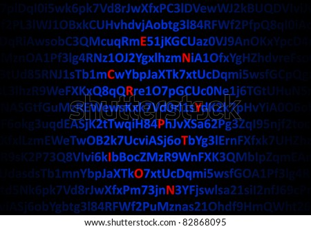 Encryption concept - red decrypted letters in middle of digital code