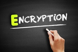Encryption text on blackboard, concept background