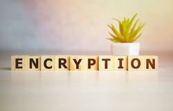 encryption word on wooden cubes, encrypt and security concept.