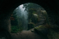 End of a tunnel to a Dark Mystical stairs in a fairy fantasy forest filled with magical mist or fog