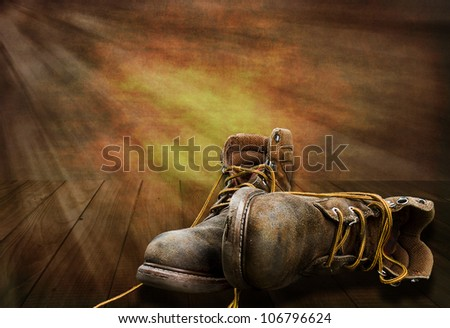 End of hard working day, man's working boots lay on deck with sunsetting, Illustration