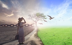 End of life care concept: Woman standing between climate worsened with good atmosphere and birds flying and broken chain
