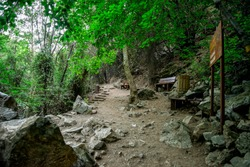 End of the hiking trek to Caledonia waterfall in Platres, central Cyprus