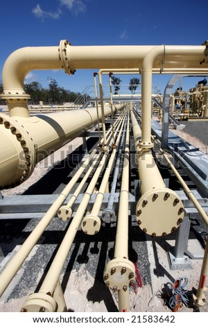 End of the line Pipes on a gasplant - stock photo
