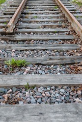 End of the old abandoned railway line, blind track without rails.