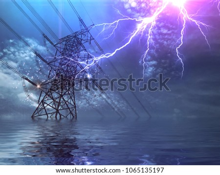 Stock Photo End of the World. Flood, High Voltage Poles and Lightning