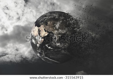 End of the World -  Global Warming Effect . Environment concept. World Environment Day concept. Hope concept - Elements of this image furnished by NASA.