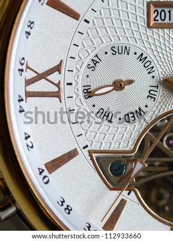 End of week. Friday. Detail of the luxury clock