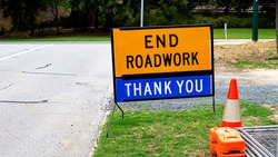 End roadwork traffic sign with thank you below