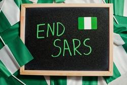 End SARS. Inscription of nigerian protest slogan.