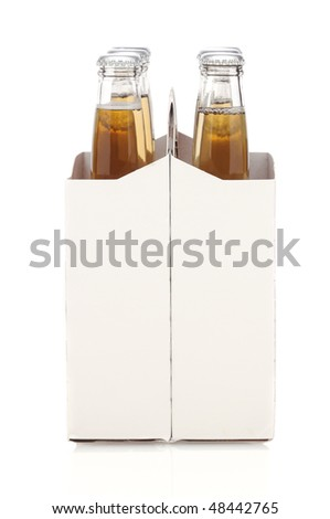 End View of a Six Pack of Clear Beer Bottles isolated over white with reflection vertical format