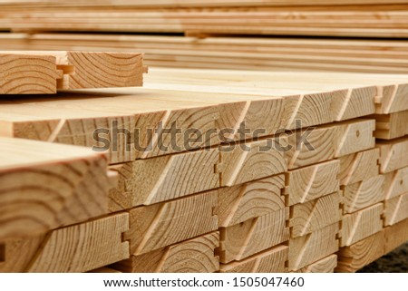 End view of stacked floorboards. Wooden structure closeup. Stock photo ©
