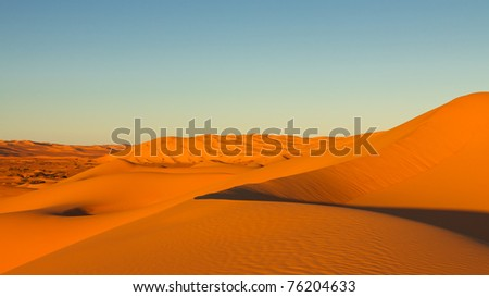 Endless Awbari Sand Sea at Sunset, Sahara Desert, Libya