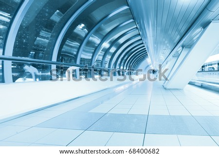 endless corridor in airport