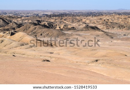 Endless desert and endless horizon in Namibia. South Africa
