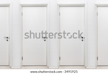Endless doors. White closed doors. Picture can be looped simply.