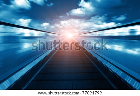Endless escalators, leading to the distant light, and exaggerated expression of abstract images. #77091799