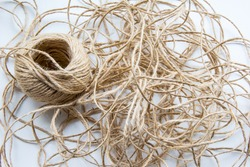 Endless jute thread at white background