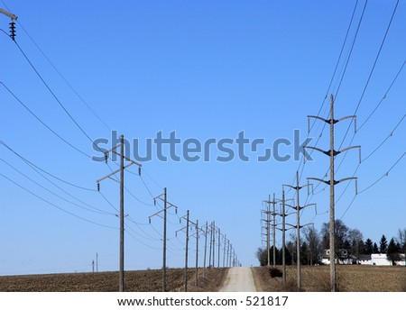 Endless power lines go over the horizon.