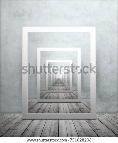 Endless repeating image of picture frame in room with wooden floor and textured wallpaper, droste effect #751028206