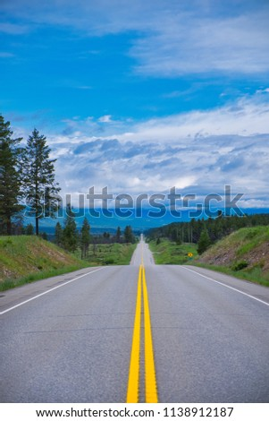Endless road in a beautiful scenery. The yellow lines draws you into the picture.  #1138912187